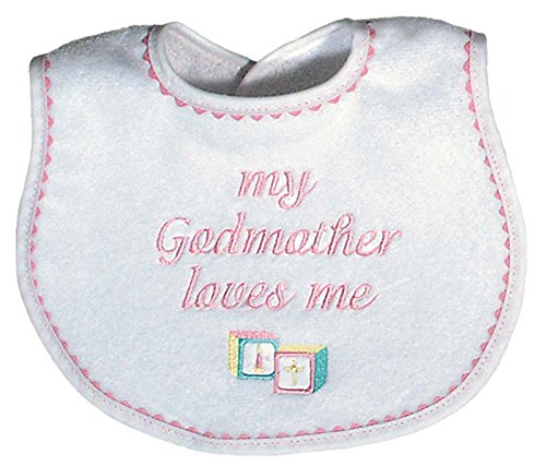 Raindrops My Godmother Loves Me Embroidered Bib, Pink - 1