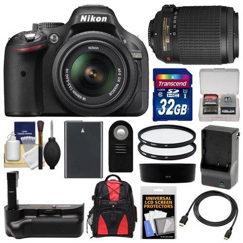 Nikon D5200 Digital Slr Camera & 18-55Mm G Vr Dx Af-S Zoom Lens (Black) With 55-200Mm Vr Lens + 32Gb Card + Backpack + Grip + Battery & Charger + Filters Kit
