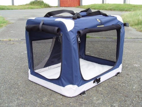 Dog Kennel/Crate-Lightweight + Portable XXL 91cm x 65cm x 65cm. Vehicle Isofix anchor points for the ultimate in safety. Reversible zipped fleece liner