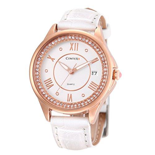 Comtex 腕時計 ホワイト カレンダー アナログ ウオッチ 女性 クオーツ 時計 レディース