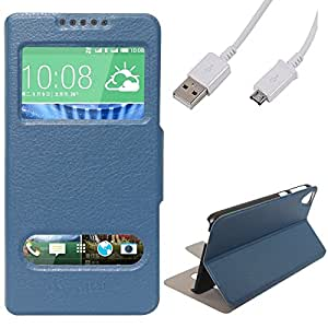 DMG Sview Call Case Vip for HTC Desire 820 (Blue) + Micro USB Data Cable