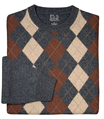 Fine Lambswool Argyle Crew Neck Sweater (CHAR/BRN/KHAKI, SMALL)