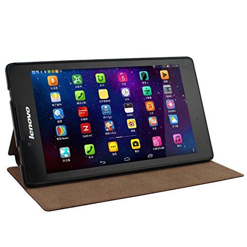 IVSO Lenovo Tab 2 A7-30 Hülle Case Folio Tasche Cover - mit Standfunction Slim Style Leder Folio Schutzhülle NUR geeignet für Lenovo Tab 2 A7-30 17,8 cm (7 Zoll IPS) Tablet, Brown