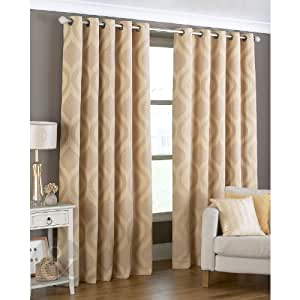 Wave chenille curtains geometric fully lined eyelet gold yellow curtain pair gold beige - Amazon curtains living room ...