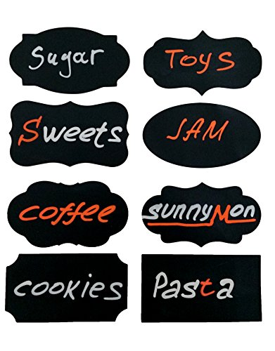 Decorative Chalkboard Label Stickers - Organize Files and Mason Jars with Self-Adhesive Labels - Stick Anywhere - Reusable / Removable - 56 Pack - 8 Different Shapes - 2 Markers (Orange and White)