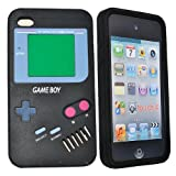 COCO FUN New Classic Gameboy Silicone Soft Back Skin Case Cover Protector for Apple iPod Touch 4th Generation 8gb, 32gb, 64gb + Clear Flim Screen Protector, Black