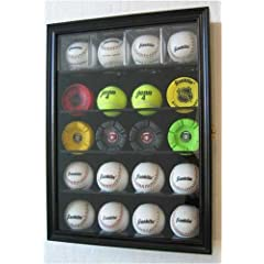 Buy 20 Baseball Holder Display Case w  UV Protection Lockable door, BLACK Finish (B20-BL) by NULL