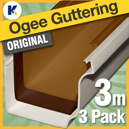 3 x White 3 Metre lengths K2 Ogee Conservatory Gutter - Genuine K2 Ogee guttering for clip and lock gutter brackets