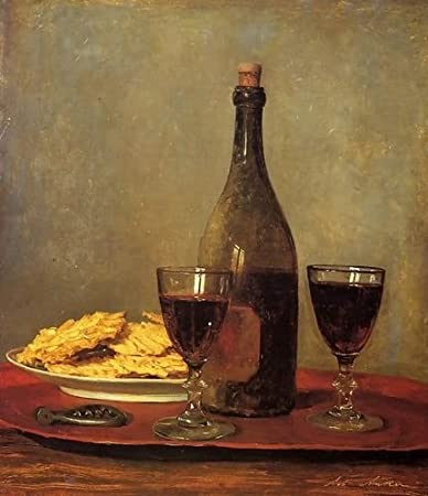 Albert Anker Still Life: Two Glass of Red Wine, a Bottle of Wine; a Corkscrew...