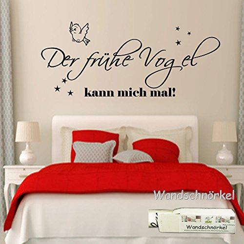 wandschn rkel wandtattoo schlafzimmer 2604 der fr he vogel kann mich mal 90cmx45cm. Black Bedroom Furniture Sets. Home Design Ideas