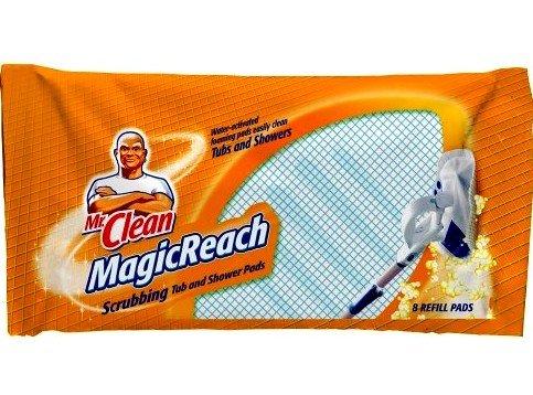 32 COUNT Mr. Clean Magic Reach Scrubbing Tub and Shower Pads, 4 Pack- 8 count ea = 32 refills MagicReach