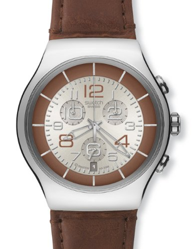 Swatch Irony Massive Bronze Chronograph Silver-tone Dial Men's Watch YOS435