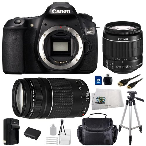 Canon Eos 60D Slr Digital Camera Kit With Canon Ef-S 18-55Mm Is And Ef 75-300Mm Lens Sse Bundle Including Replacement Lp-E6 Battery, Rapid Travel Charger, 16Gb Sdhc Memory Card, Mini Hdmi Cable, Carrying Case, Full Size Tripod And More