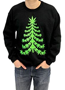 Ugly Christmas Sweater - Marijuana Christmas Tree Adult Black Sweatshirt