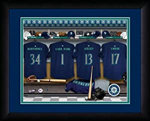 MLB Personalized Locker Room Print Black Frame Customized Seattle Mariners by You