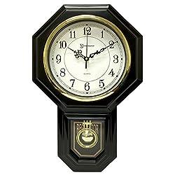 17.5 x 11.25 Essex Westminster Chime Faux Wood Pendulum Wall Clock  - Urban Mod, Black