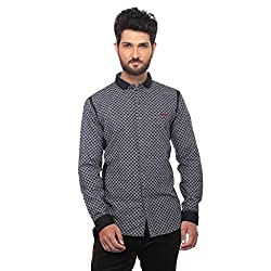 Apris Mens F/slv Cotton Shirt-BLACK (S-3227) (L)