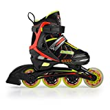 Rollerblade for Kid's Adjustable Boys Girls Inline Skate ABEC-5 different sizes and colors (Black, S/11-13)