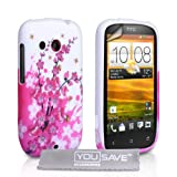 HTC Desire C Case Silicone Floral Bee Cover With Screen Protector & Clothby Yousave Accessories
