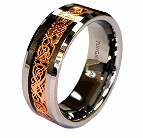 King Will 8mm 18K Rose Gold Plated Celtic Dragon Tungsten Carbide Wedding Band Ring Comfort Fit 9.5 (Tungsten Carbide Ring Set compare prices)