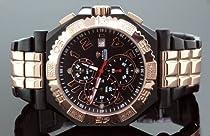 Aqua Master Mens Swiss Made Rose Gold Sports Diamond Watch 0.12ctw