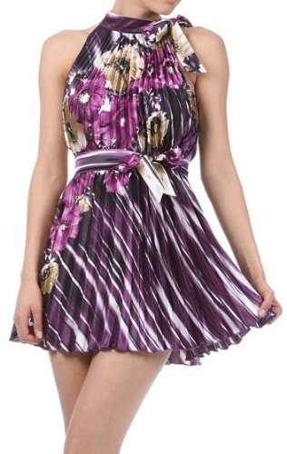 Satin Pleated Sleeveless Two Tone Short / Mini Dress with Striped Floral Design ( 2 Colours )