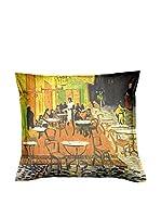 ARTE E TESSUTI by MANIFATTURE COTONIERE Cojín Con Relleno Extraíble Van Gogh - Caffe Ad Arles Naranja/Multicolor