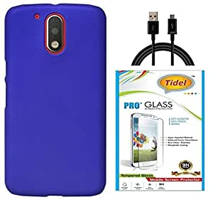 Tidel Ultra Thin and Stylish Rubberized Back Cover for Moto G Play 4th gen (Motorola Moto G4 Play)(DARK BLUE) With Tidel 2.5D Curved Tempered Glass & Data Cable