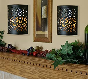 Amazon.com : Black Etched Metal Indoor/Outdoor Wall Sconce Lanterns with Flameless Candle (Set ...