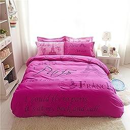 Cliab Hot Pink Paris Eiffel Tower Full Girls Duvet Cover Set 4 Pieces 100% Cotton