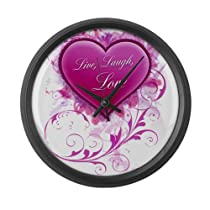 Live Laugh Love Floral Grung Large Wall Clock by CafePress
