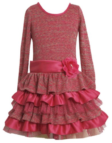 Fuchsia-Pink Metallic Sweater Knit Tier Dress Fuc4Mb Bonnie Jean Tween Girls Special Occasion Flower Girl Holiday Bnj Social Dress, Fuchsia front-1008307