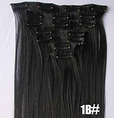 "Romantic Angels® 14"" 100% Virgin Brazilian Silky Straight Human Hair Clip on in Extensions 6 Pieces Set Color#1B Natural Black"