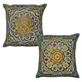 Embroidered Work Design Indian Cotton Pillow Cushion Cover 16x16 Inches Set Of 2 Pcs