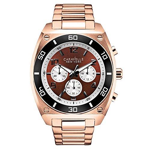 Caravelle New York 45A110 - Reloj  de Cuarzo para Hombre, correa de Acero inoxidable color Oro rosa