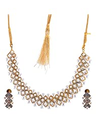Bharat Sales Style Diva White Alloy Necklace Set For Women - B00YPASWX8