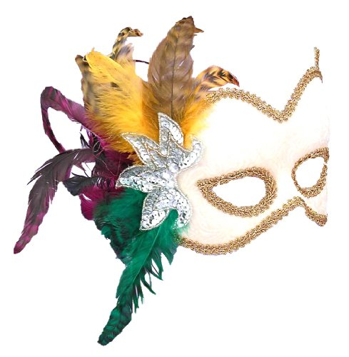 Forum Novelties Women's Karneval Style Half Mask with Feathers, Biege, One Size