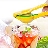 Bru Joy Citrus Press Lemon Lime Small Orange Manual Squeezer - Unique 2-Bowls-Built-In-1 Design Lets You Squeeze All Kinds of Citrus Fruits In One Go - Sturdy Enameled Aluminum - FDA Certified