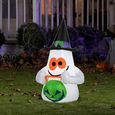 Halloween Decoration Lawn Yard Inflatable Airblown Small Ghost With Pumpkin 3.5' Tall front-304449