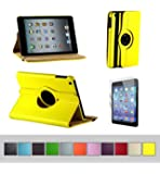 BTM Apple iPad Mini 1 2 & 3 7.9 Retina Display Rotating 360 Leather Case Cover w/ Elastic Strap | FREE Screen Protector + Stylus | Cute For The Girly Girl | Protective Durable Designer Hard Shell Case Stand - Yellow