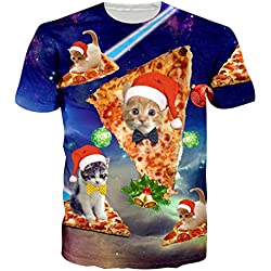 RAISEVERN Ugly Christmas Santa Cat Pizza Tees Festival Hot Tee Shirt Tees for Juniors