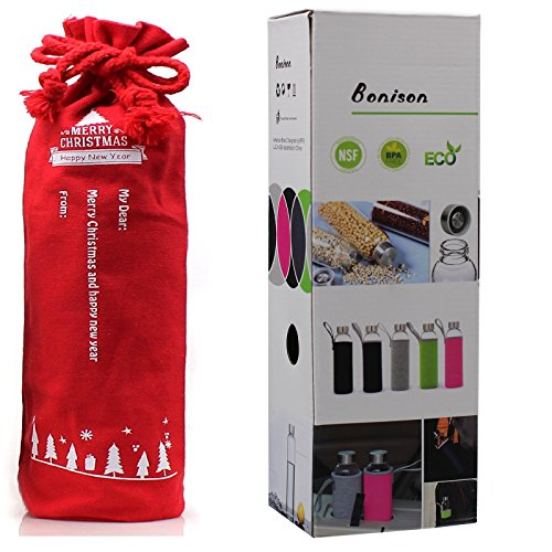 Christmas Self Personalize Exclusive Gift-Bonison Stylish Environmental Borosilicate Glass Water Bottle with Grey Nylon Sleeve (18 Oz) (Dishwasher Top Rack End Caps compare prices)