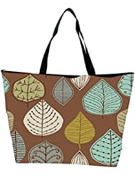 Snoogg Colorful Leaves Brown Designer Waterproof Bag Made Of High Strength Nylon