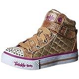 Skechers Kids Shuffles Light Up Sneaker (Toddler/Little Kid),Gold Quilt,11 M US Little Kid