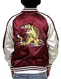 (コンフューズ)CONFUSE スカジャン メンズ ジャケット 虎 タイガー 刺繍 アウター サテン アメカジ ブルゾン cfjk2005 (L,RED)