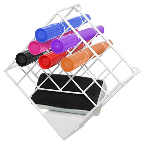 White Wall Mounted Metal Wire Whiteboard Marker Organizer Rack / Dry Erase Board Storage Box (Tabletop Marker Organizer compare prices)