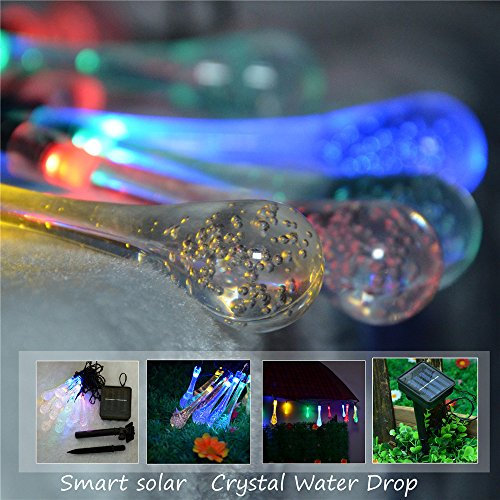 String Lights With Covers : Inst Solar Powered 20 LED String Light with Crystal Water Drop Covers New eBay