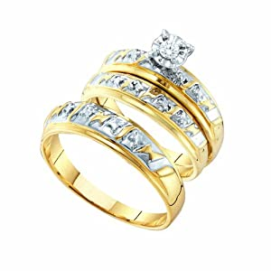 1/12 Carat DIAMOND RD-CENTER TRIO SET
