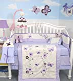 SoHo Lavender Flower Garden Baby Crib Nursery Bedding Set 13 pcs included Diaper Bag with Changing Pad & Bottle Case