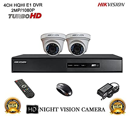 Hikvision DS-7204HQHI-E1 4CH Dvr, 2(DS-2CE56DOT-IR) Dome Camera (With Mouse, Remote)